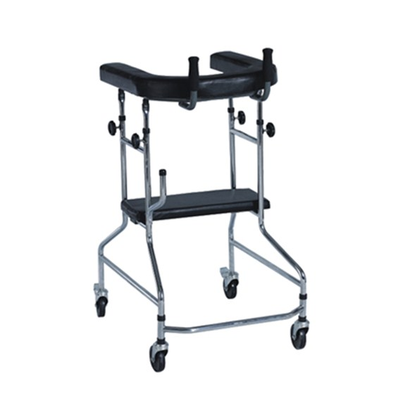 cerebrovascular event CVE walking aid with hand bar and seat with 2 braking castor