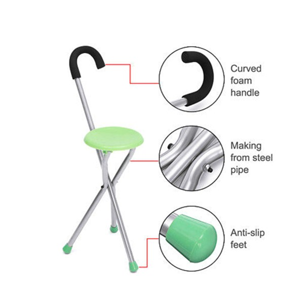 Adjustable Folding Walking Cane Chair Stool Massage Walking Stick with Seat Portable Fishing Rest Stool