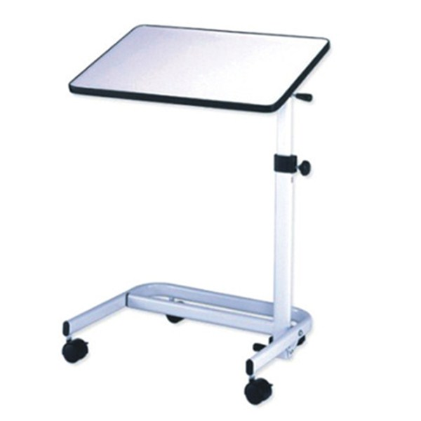 Medical Adjustable Deluxe Tiltable Overbed Bedside Table with One Touch Height Adjustment Feature Hospital and Home Use