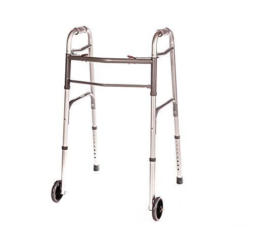 Medical Two Button Folding Walker with Wheels Adjustable Height and Detachable Legs